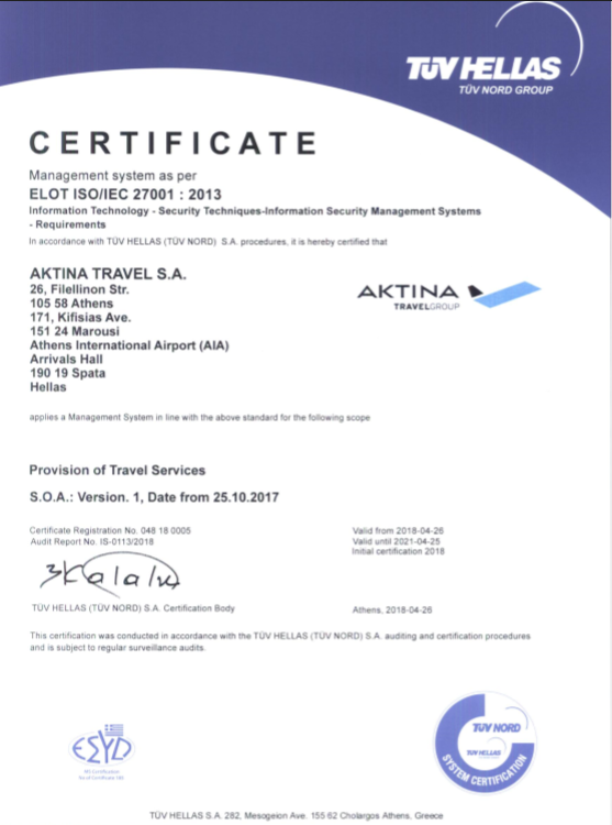 Certification ISO 27001:2013